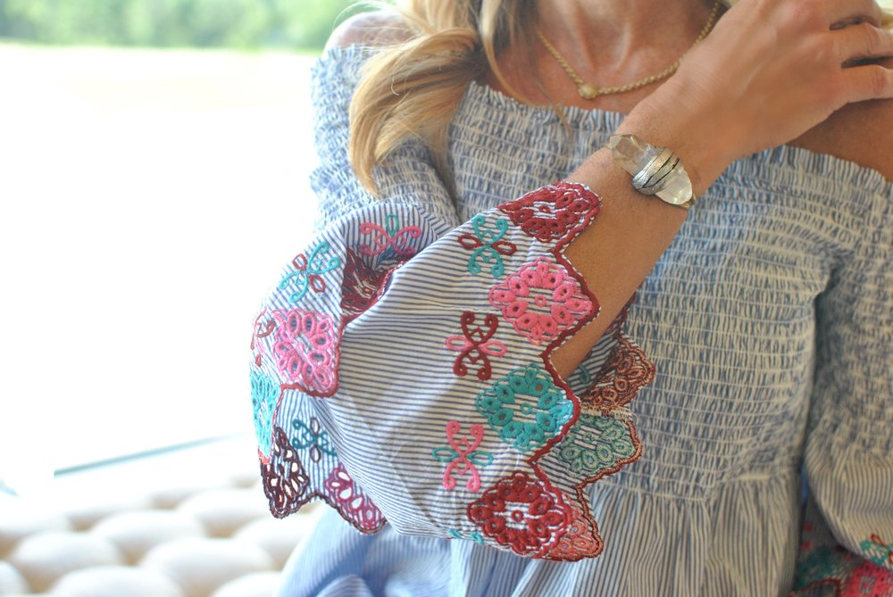 LOFT Embroidered Blouse and Crystal Bracelet