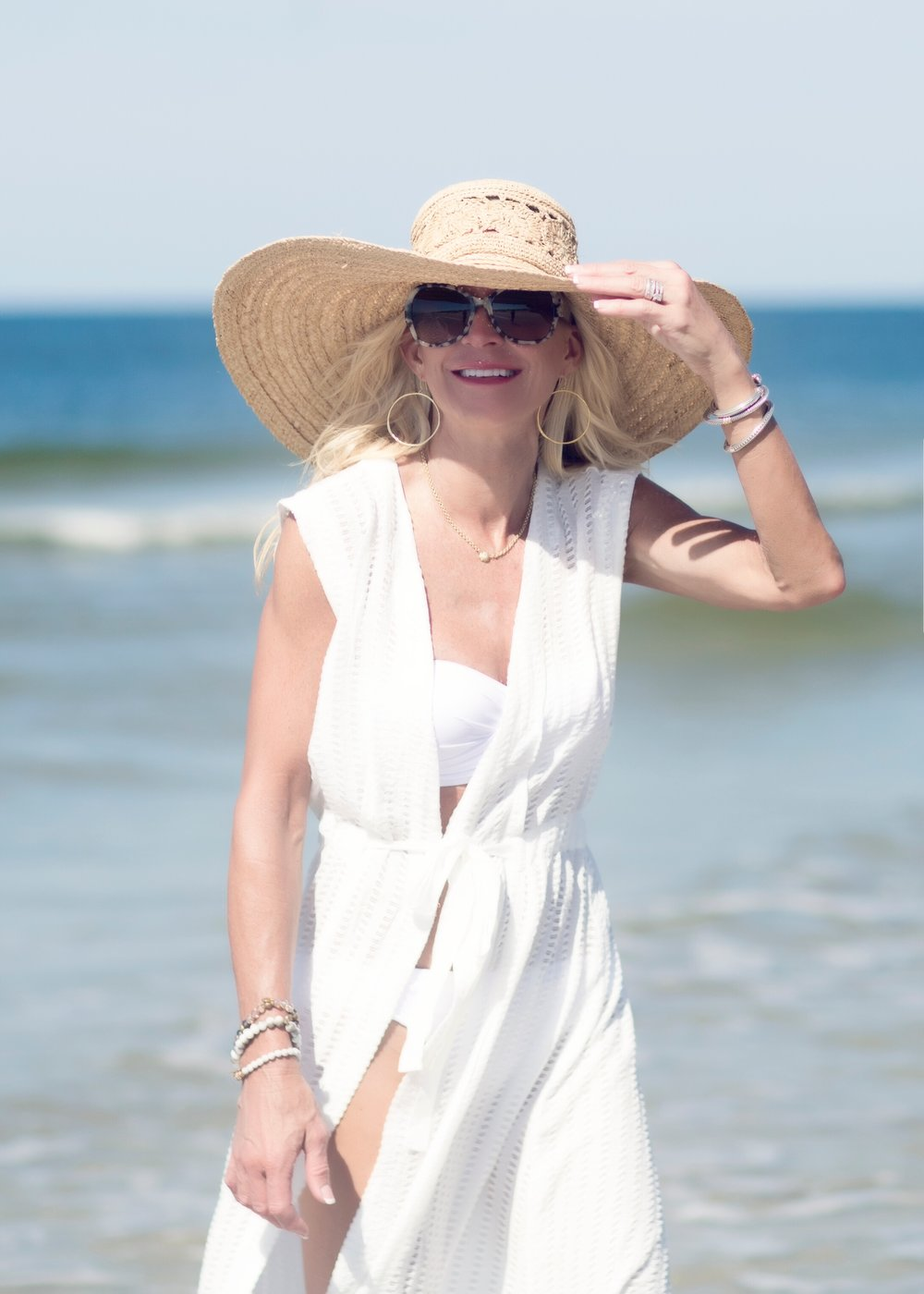 Anthropologie cover-up with Target swim suit