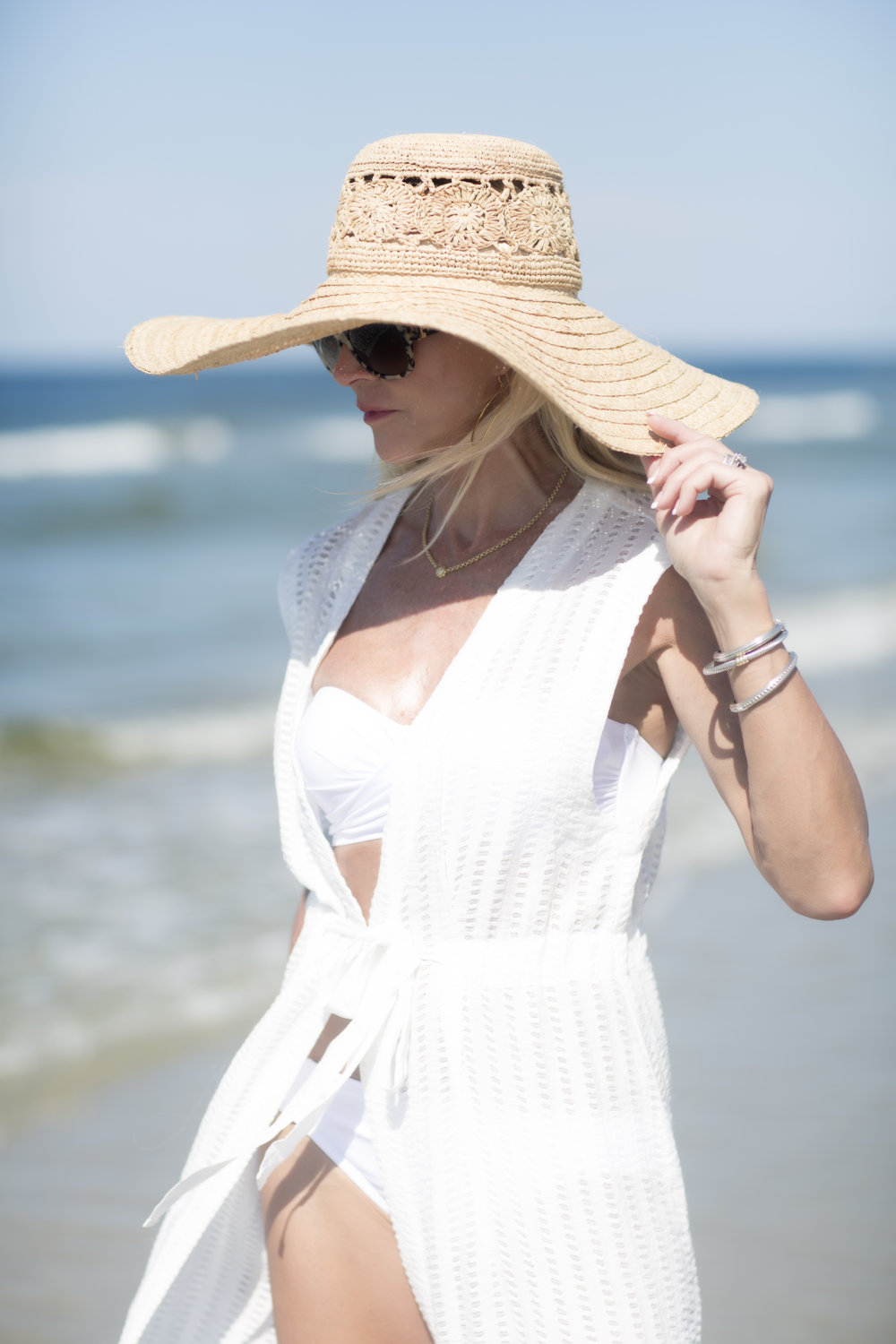 Anthropologie cover-up with Target swim suit and Brooklyn Hat Co. hat