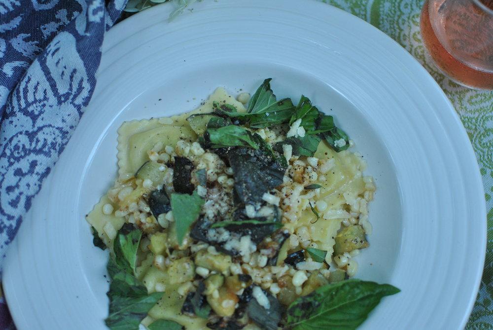 Ravioli with Roasted Zucchini and Corn