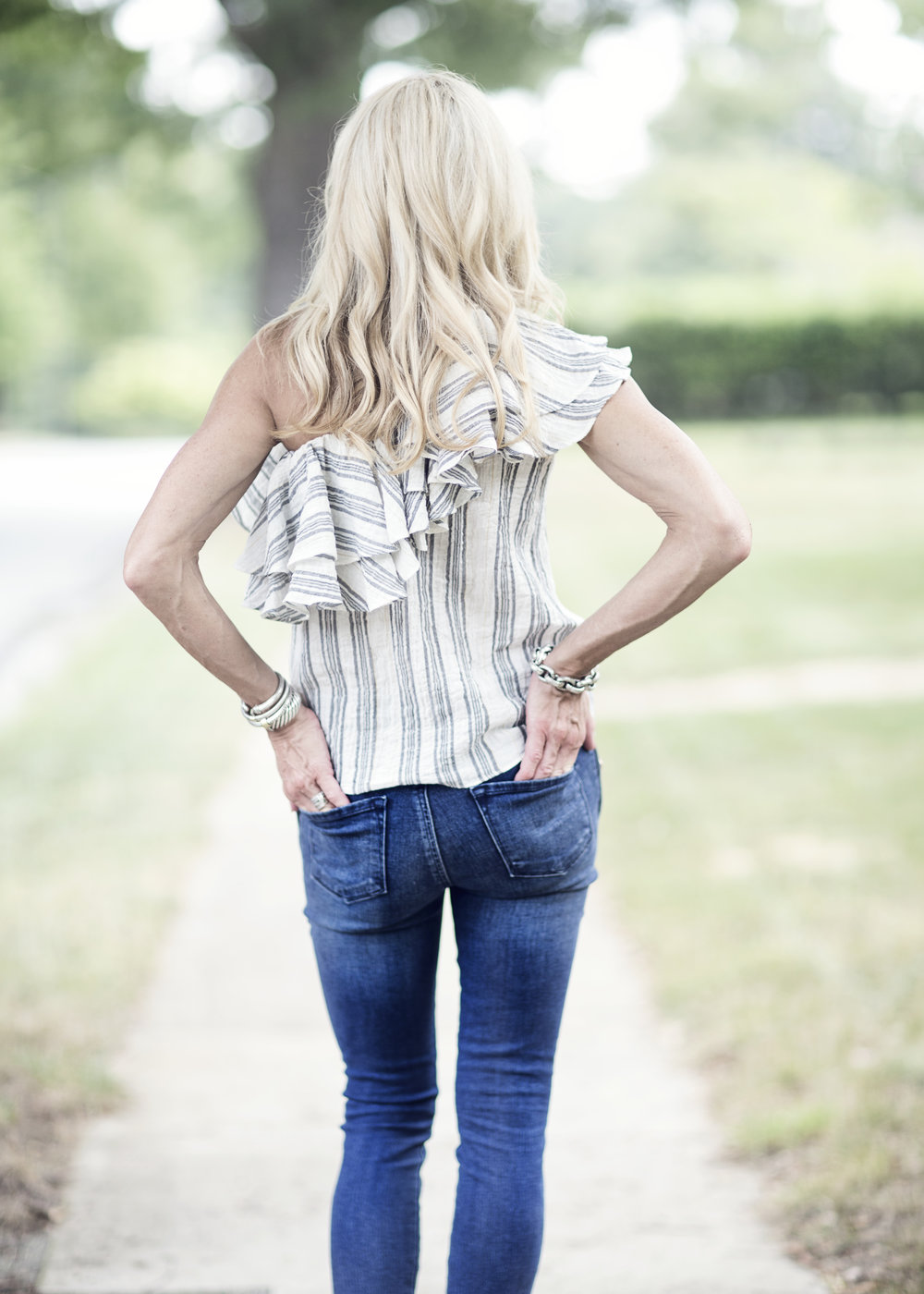 Off the shoulder top with J Brand jeans