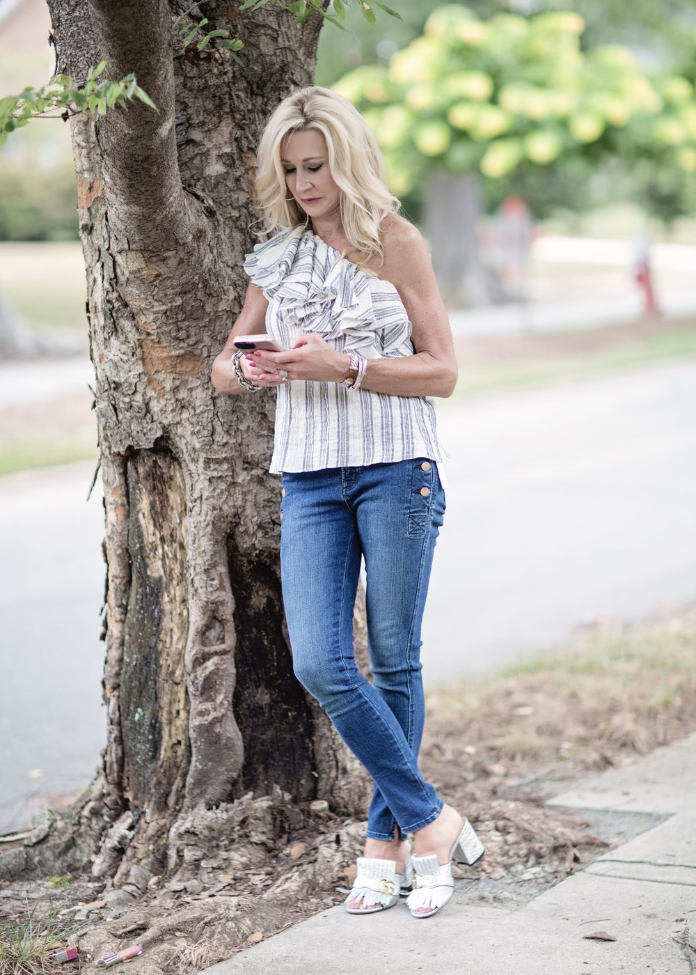 Denim with off-the-shoulder top