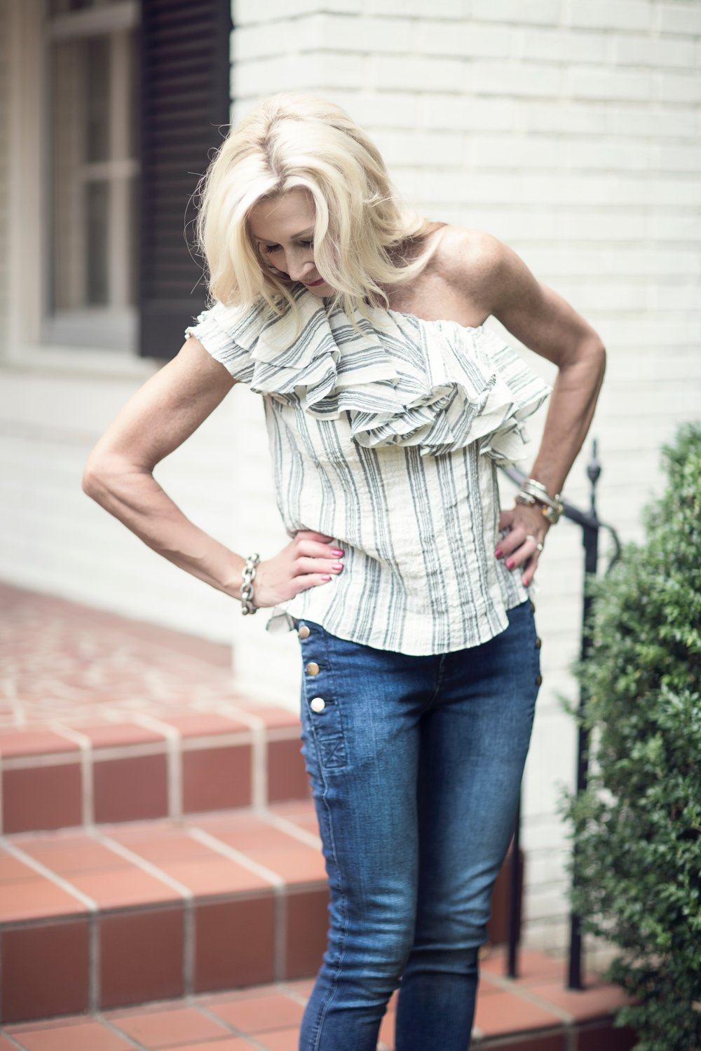 off-the-shoulder top with J Brand denim