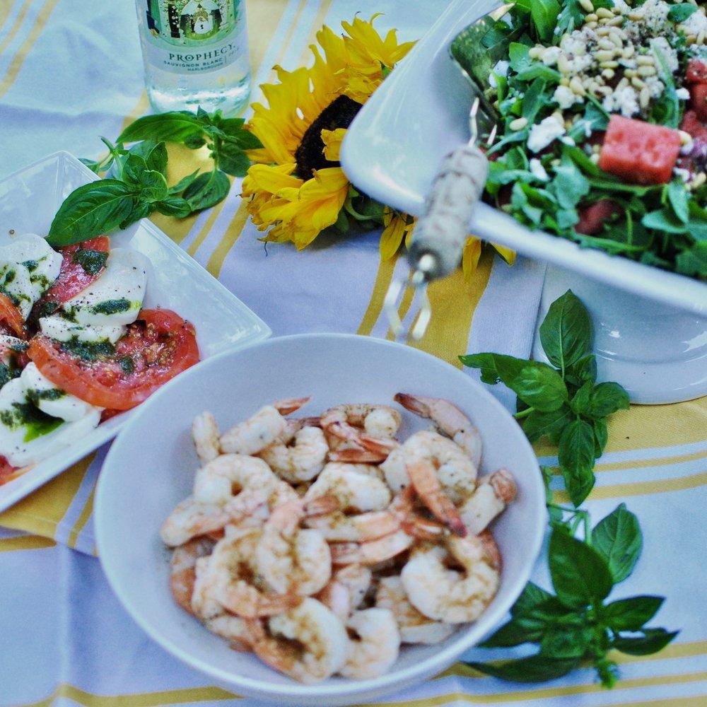 watermelon salad, roasted shrimp and capresé salad
