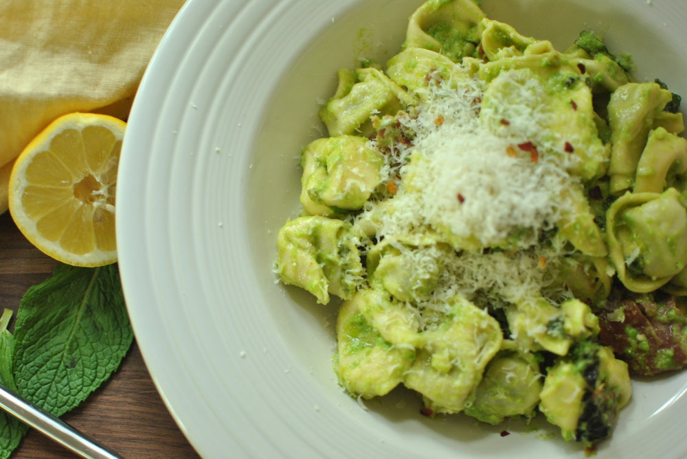 Pea Pesto with Tortellini
