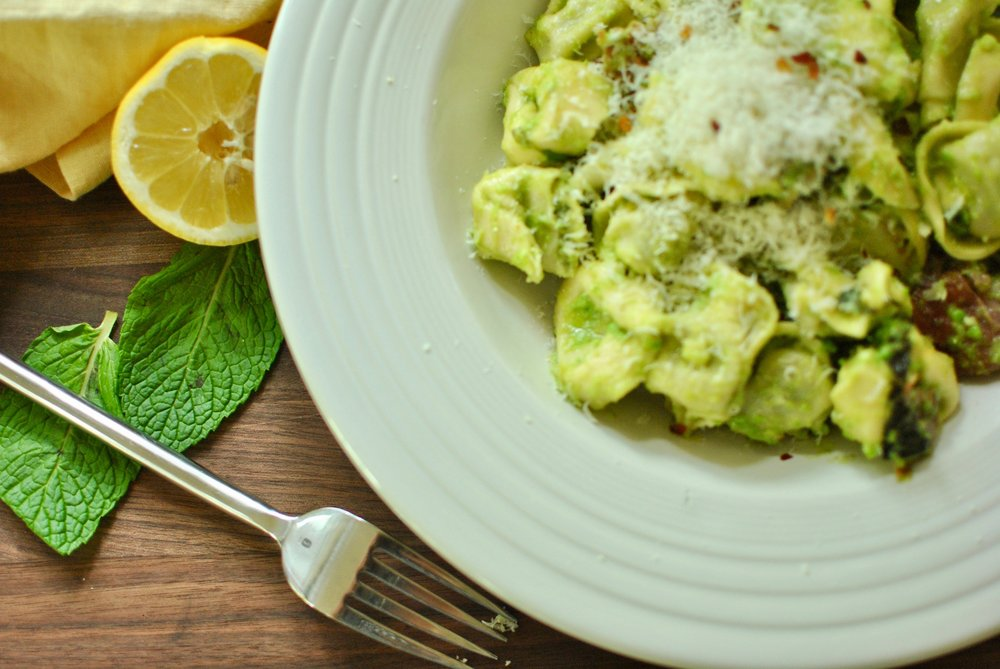 Pea Pesto with Tortellini and Mint