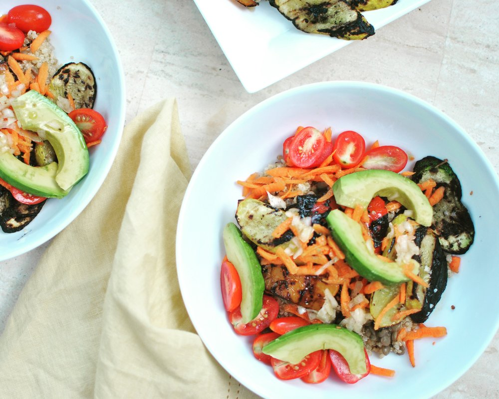Summer Veggie and Avocado Quinoa Bowl