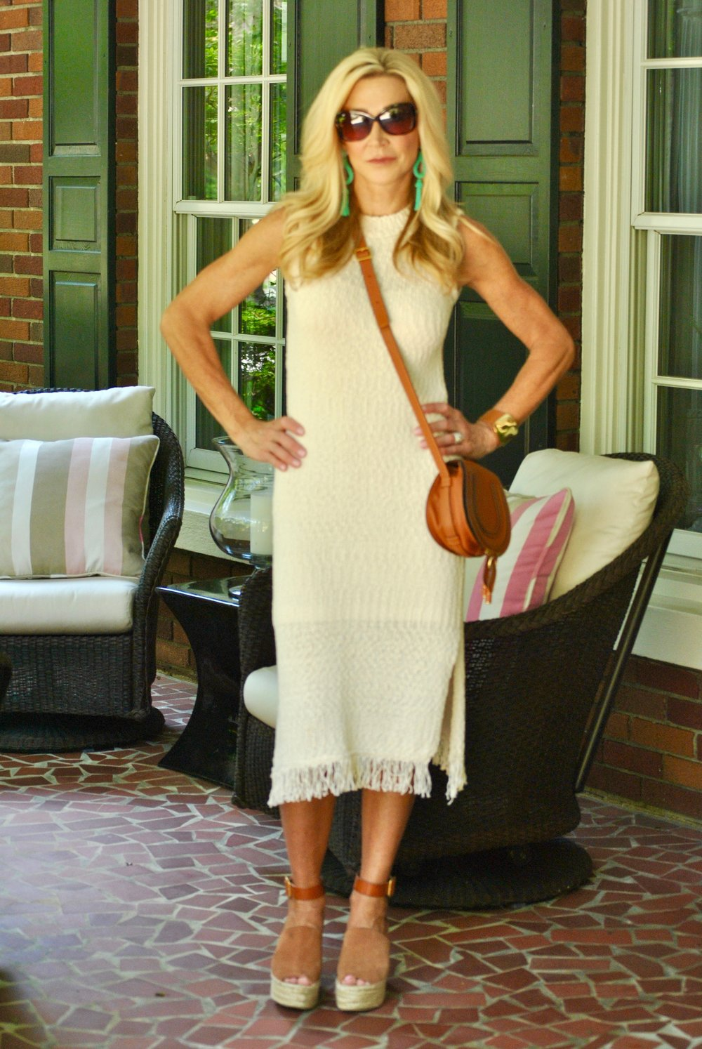 Anthropologie dress, Chloe espadrilles and Chloe bag