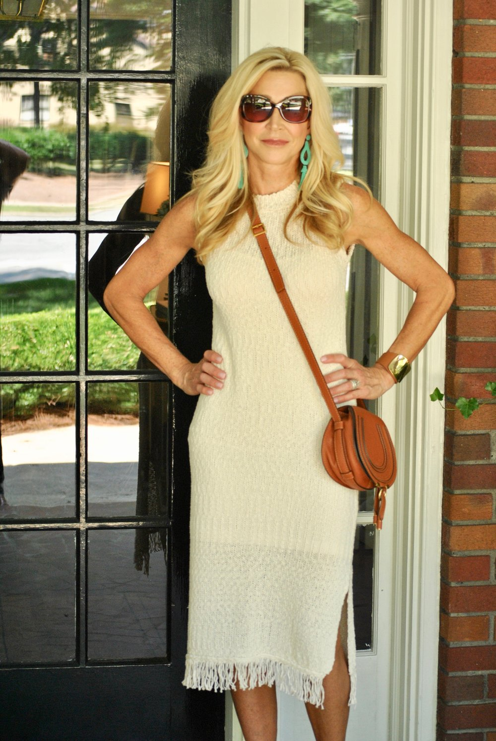 Anthropologie dress, Chloe bag and Chloe espadrilles
