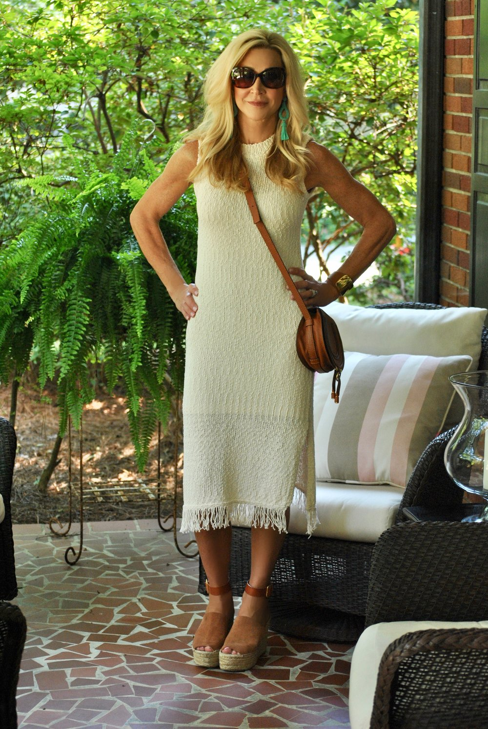 Anthropologie dress, Chloe shoes and bag and Michael Kors sunglasses