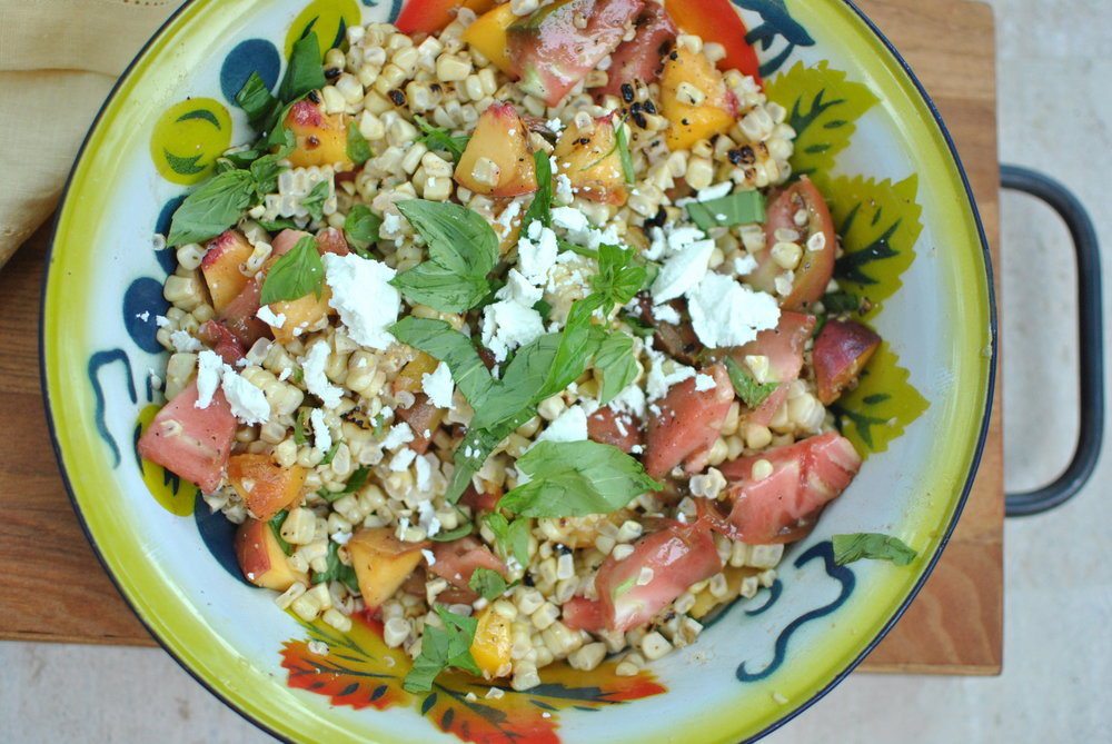 Grilled Corn & Peach Salad with Heirloom Tomatoes & Basil