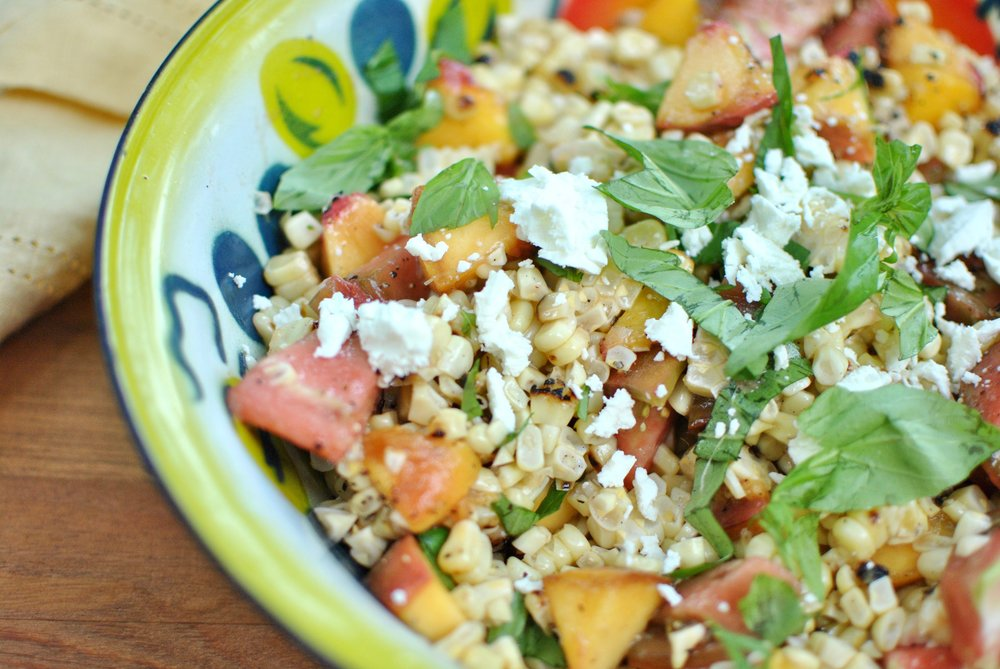Grilled Corn & Peach Salad with Tomatoes and Basil