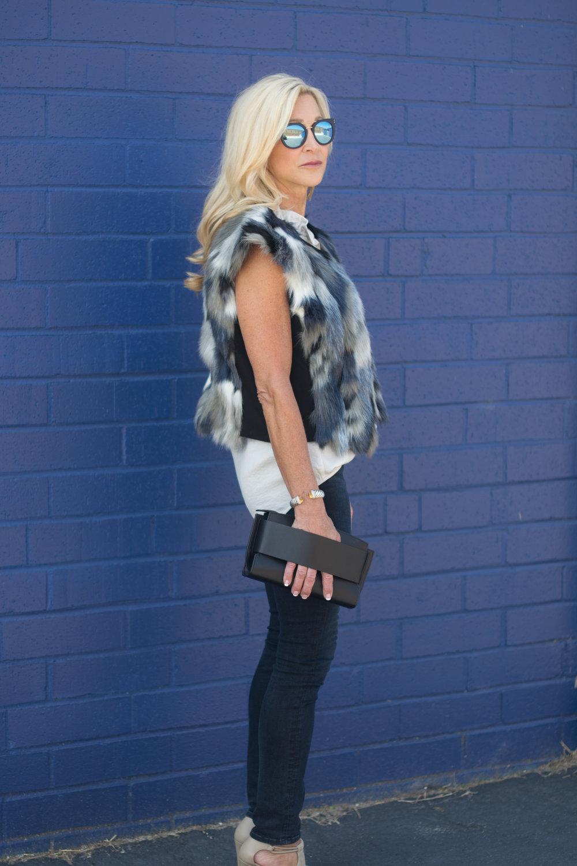 Cabi Faux Fur Vest and Blouse
