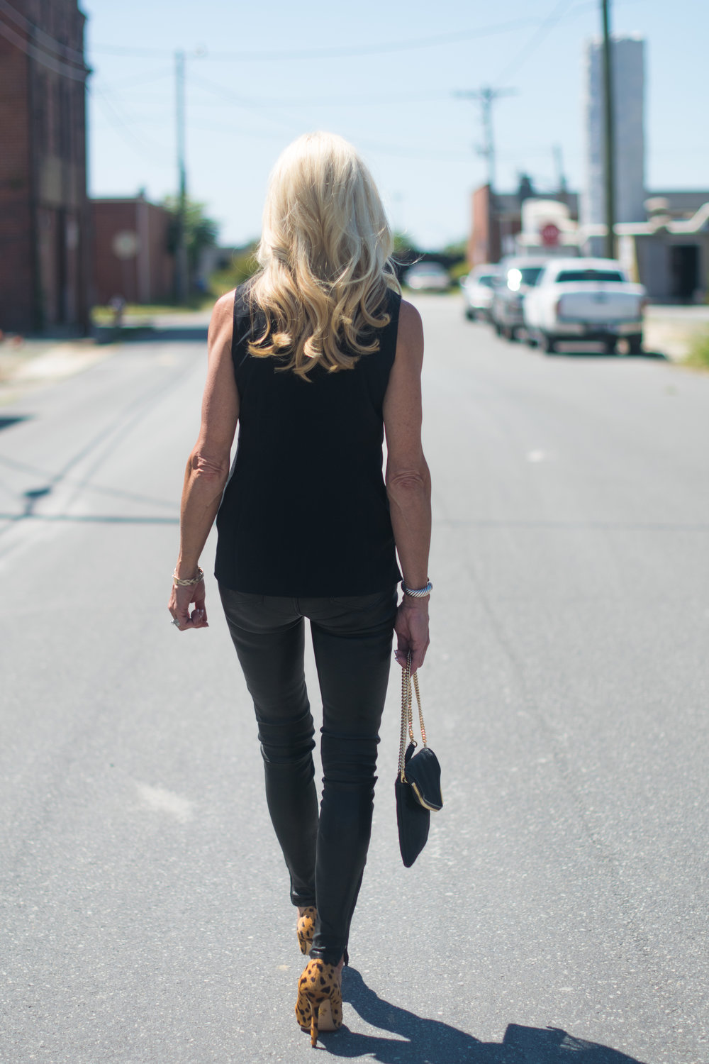 Early Fall Outfit - Leather pants and Cabi top
