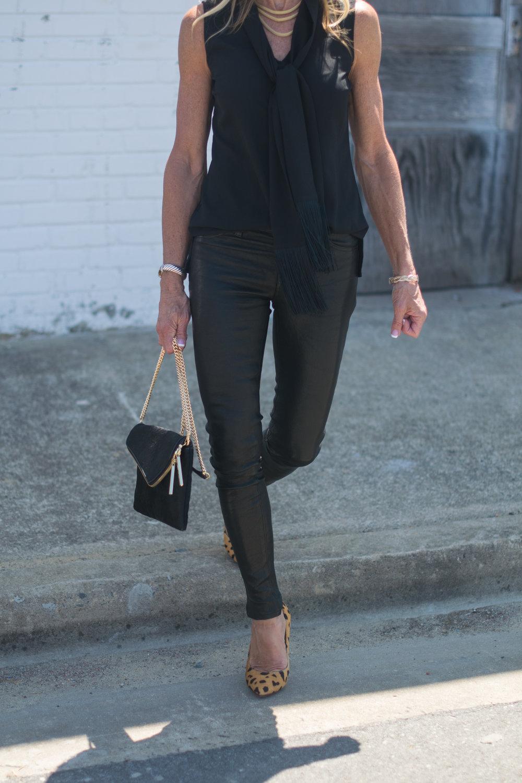 Leather pants and Henri Bendel bag