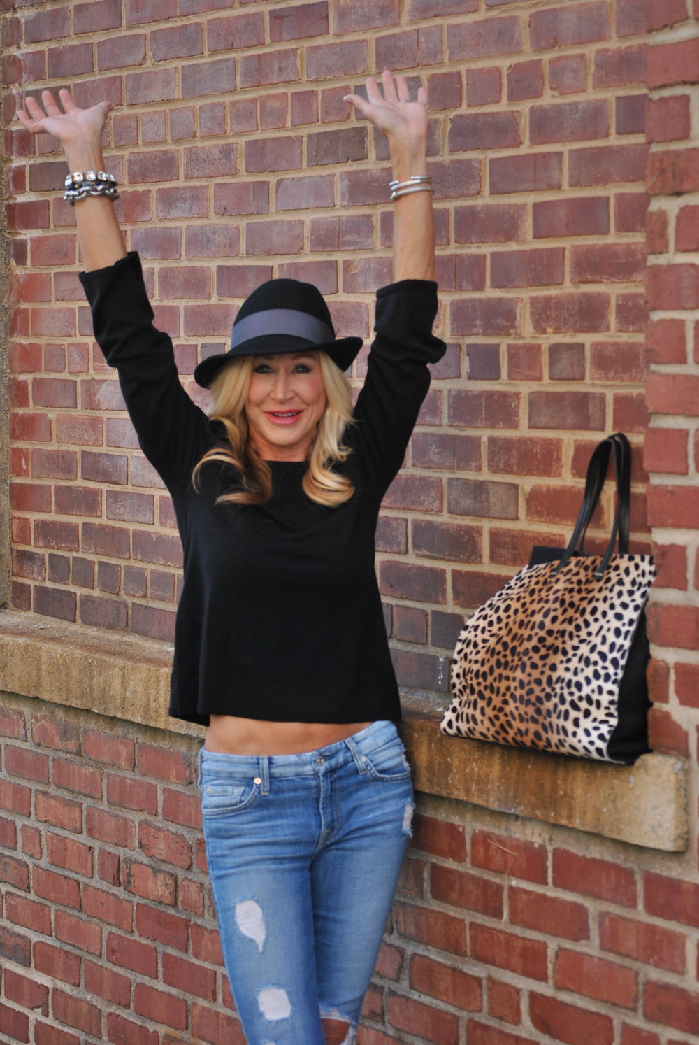 Gap cold shoulder sweater with Rag and Bone hat