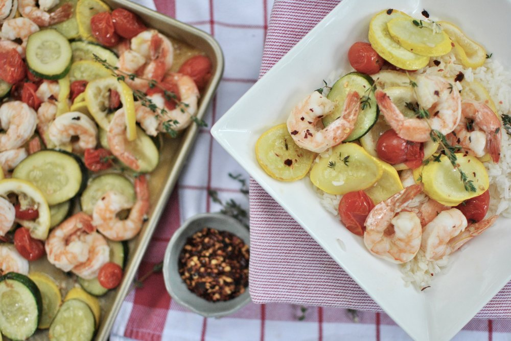 Oven Roasted Shrimp with Squash