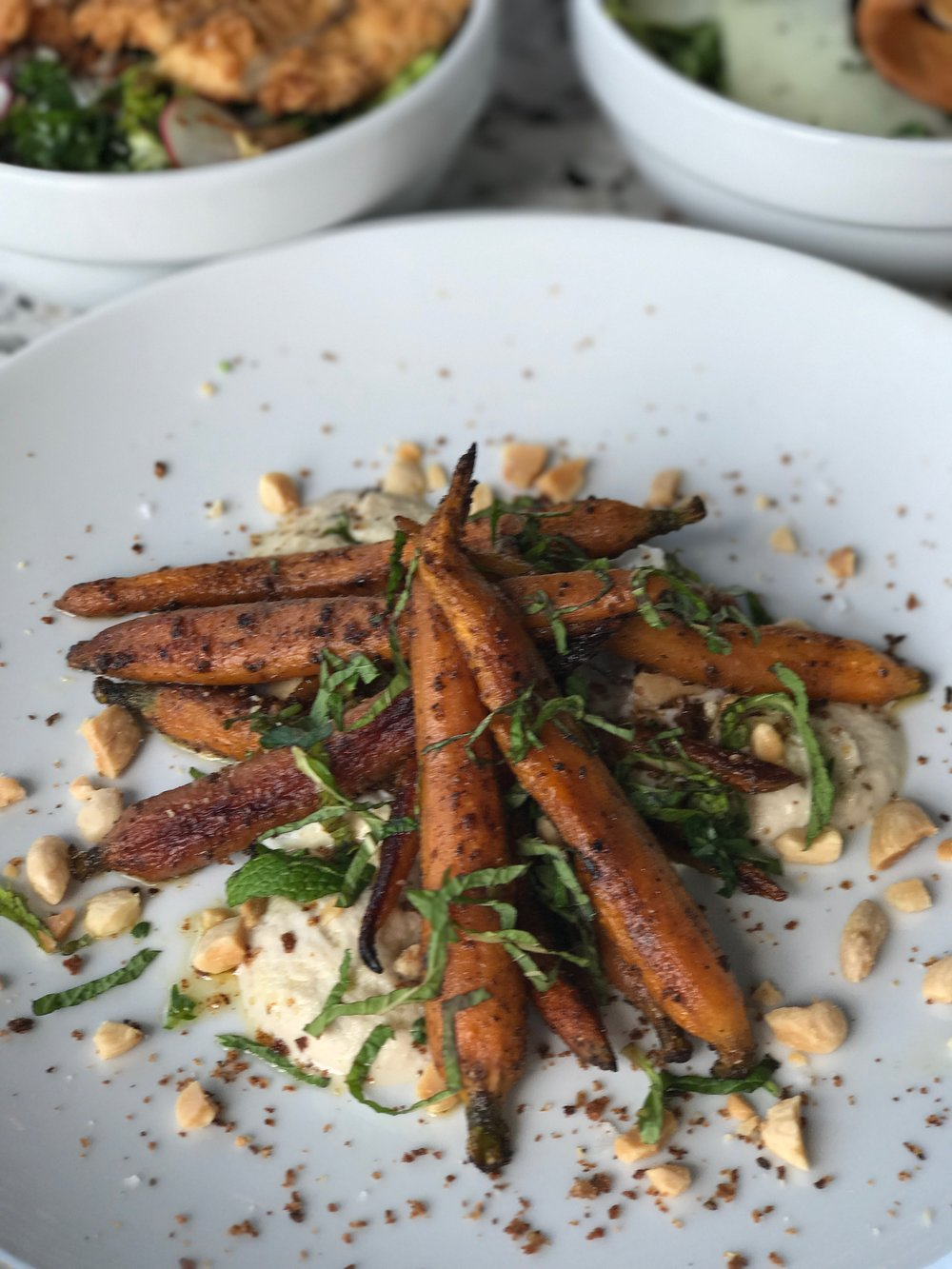 Roasted Carrots with Hummus and Pistachios