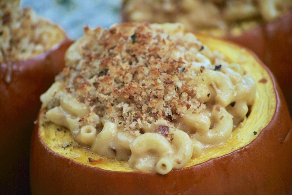 Mac & Cheese stuffed pumpkin