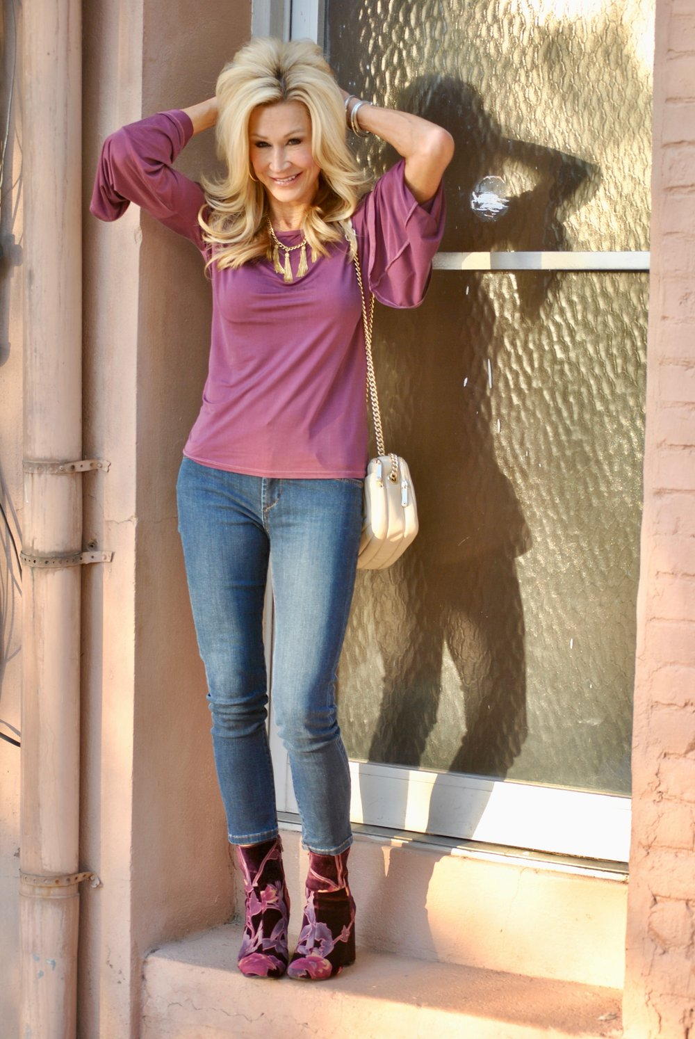 Bell sleeve top with Steve Madden boots