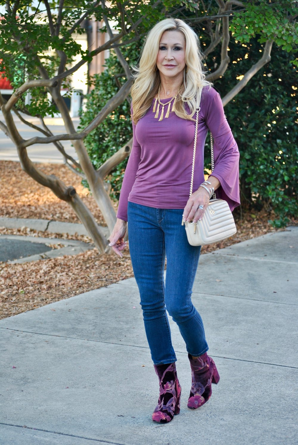 Bell Sleeve top with Steve Madden Boots and Henri Bendel bag