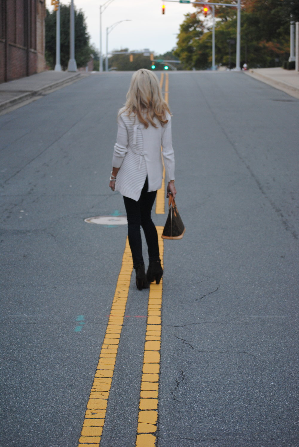 Frame Denim Jeans, Cabi Sweater, Frye Booties and Louis Vuitton Bag