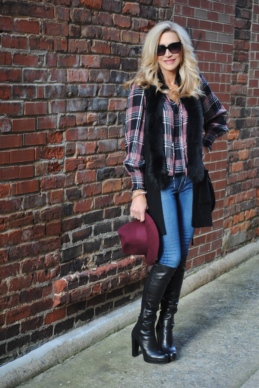 Anna Cate Collection Fur Trim Vest with Loft Blouse