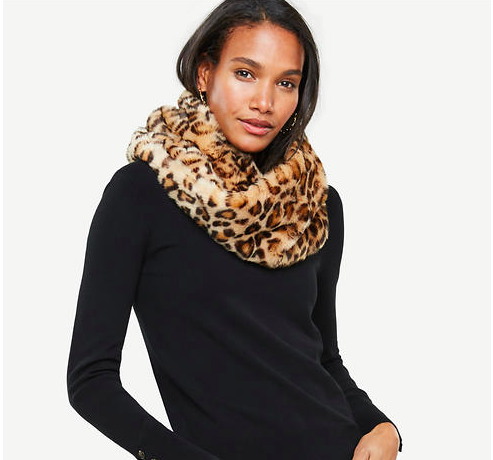 Ann Taylor Cheetah Faux Fur Snood - 68.00