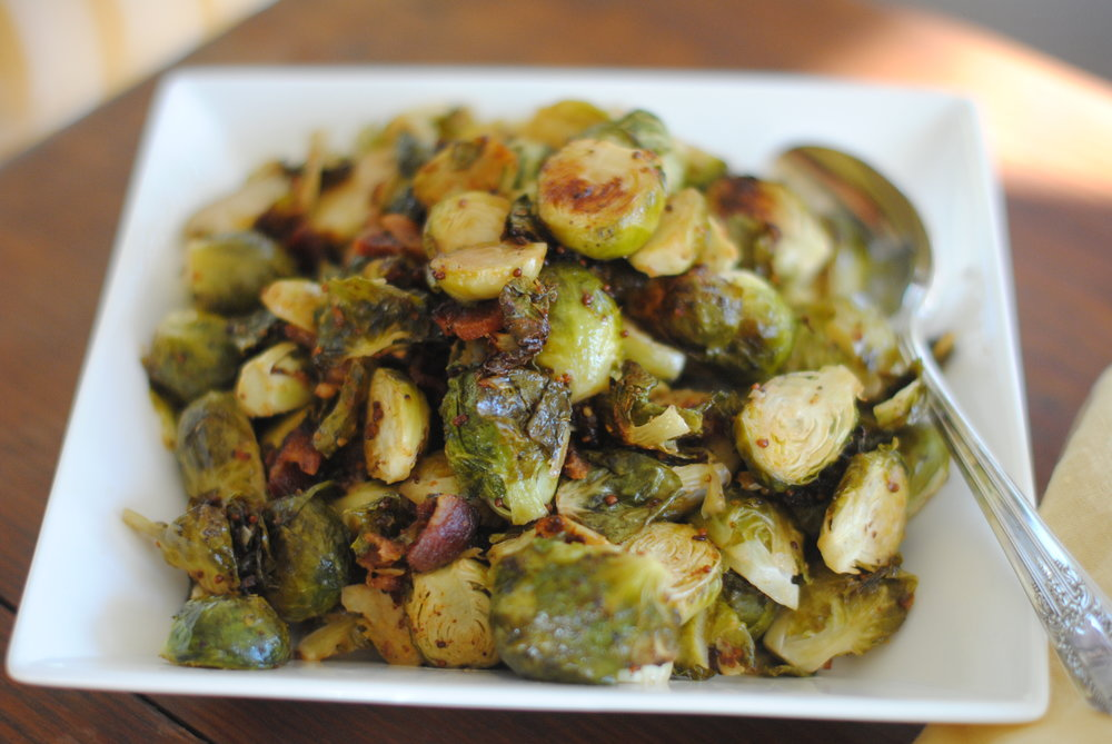 Brussel Sprouts with Maple Mustard Vinaigrette