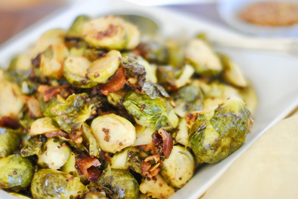 Brussels Sprouts with Bacon and Maple Mustard Vinaigrette