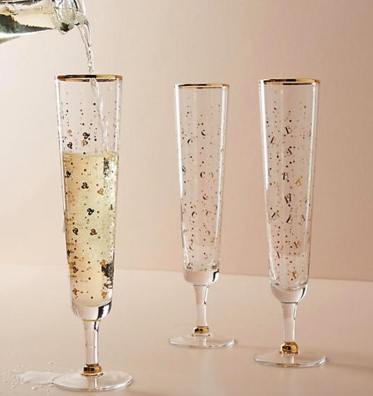 Think ahead and give these Champagne flutes in anticipation of New Year's Eve - $14.00 at Anthropologie