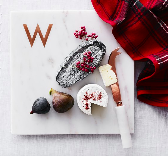 This marble and copper monogrammed cheese board is a perfect gift. - 20% off $39.95 at Williams Sonoma
