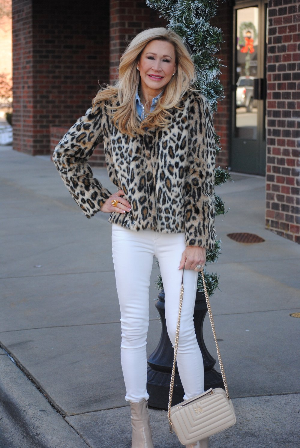 Leopard Jacket with Cream Jeans and Chambray shirt