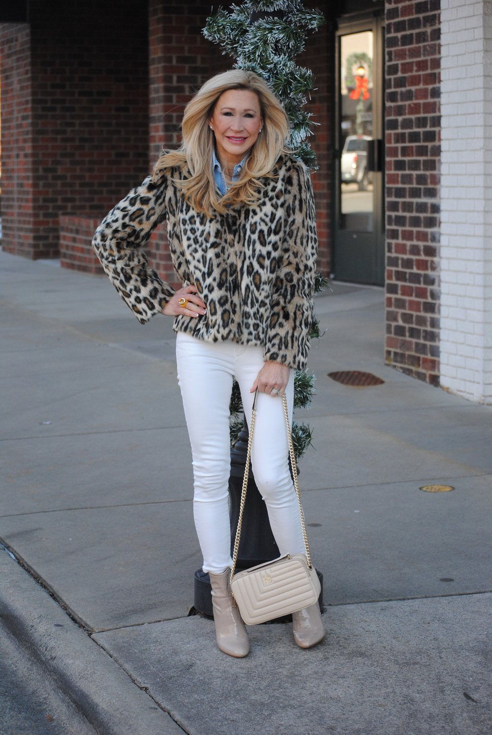 Leopard Jacket, Cream Jeans, Chambray Shirt
