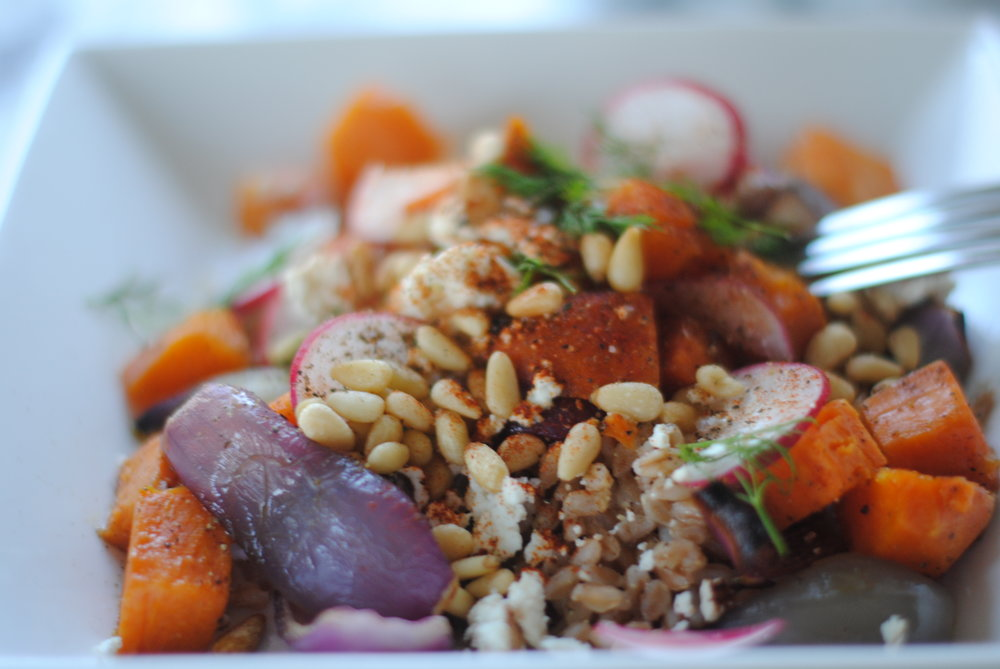 Farro with Roasted Sweet Potatoes, Red Onion and Goat Cheese