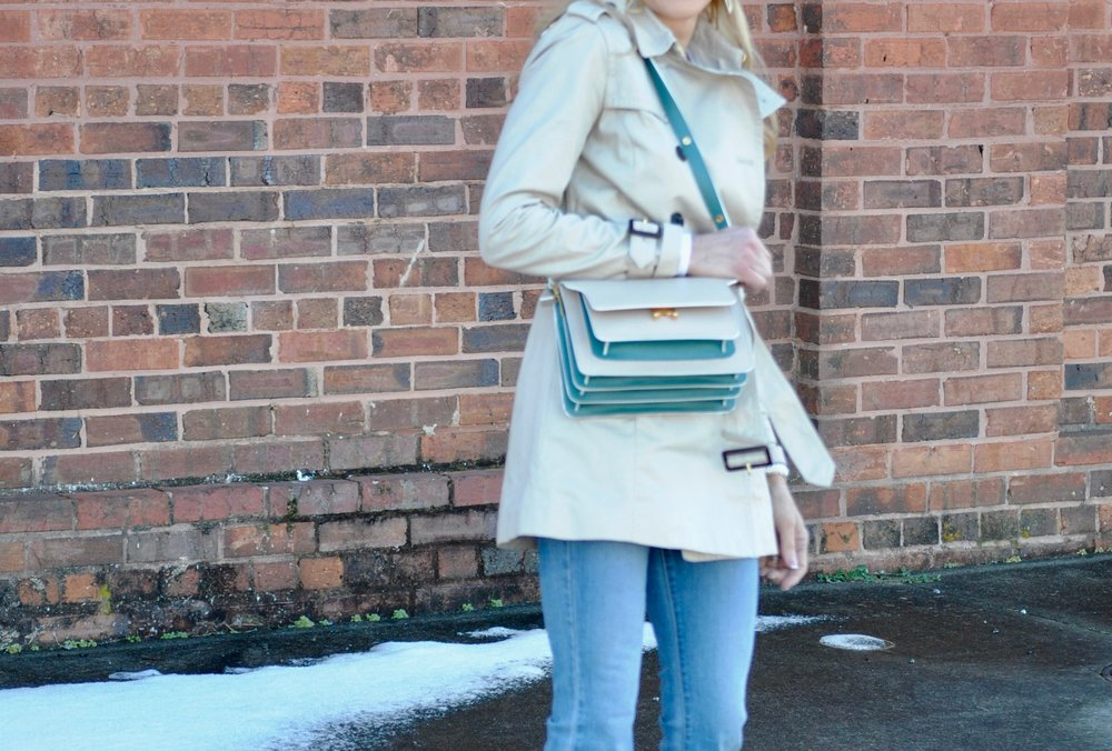 Marni Bag styled with a trenchcoat