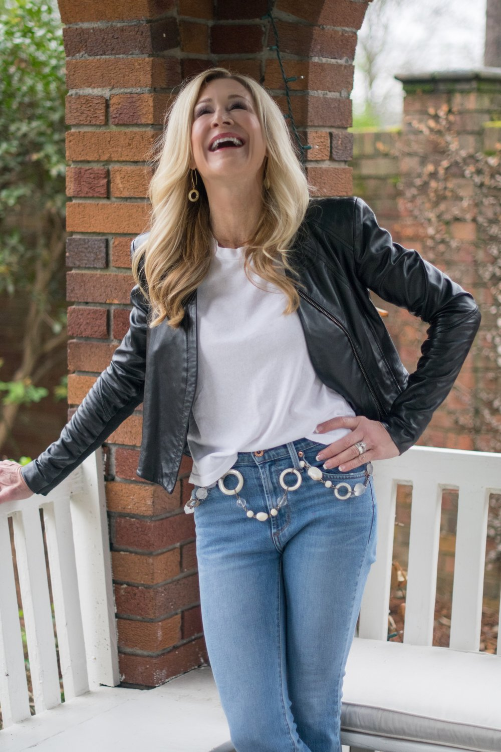 Flare cropped jeans with leather jacket
