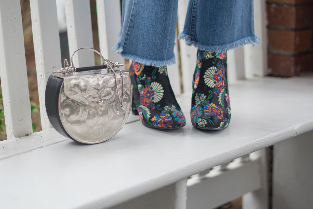 Silver boho bag and Steve Madden Booties
