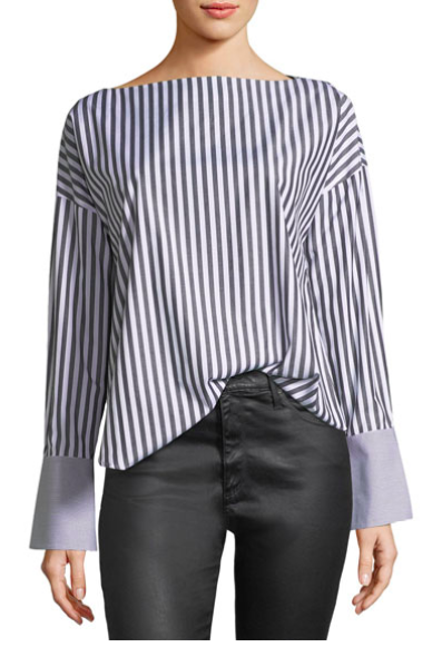 AG Long Sleeve Striped Cotton Blouse -