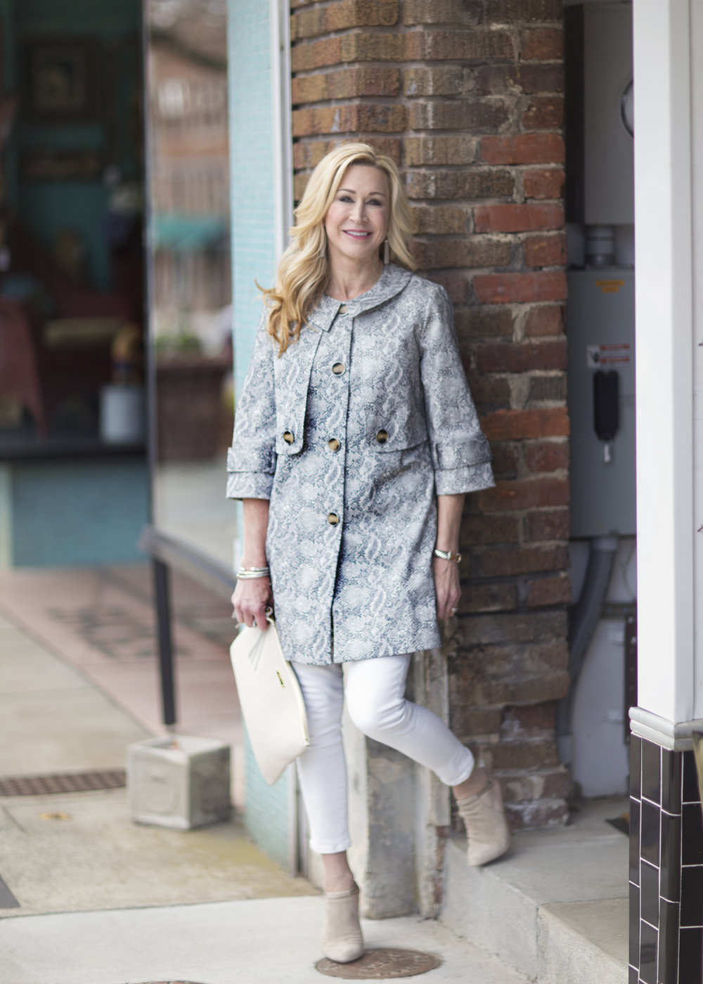 Spring Coat with White Jeans