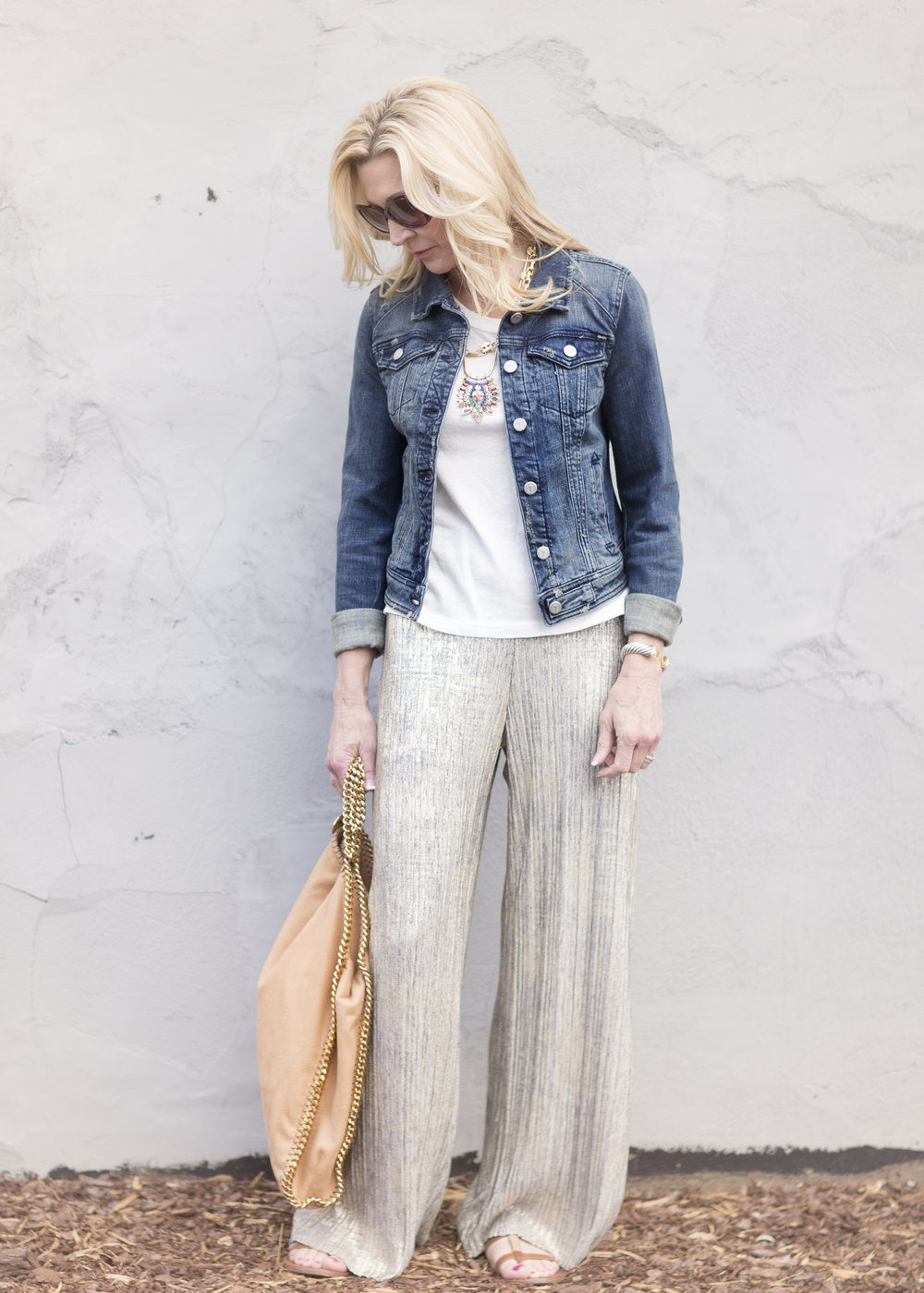 Palazzo Pants with Denim Jacket