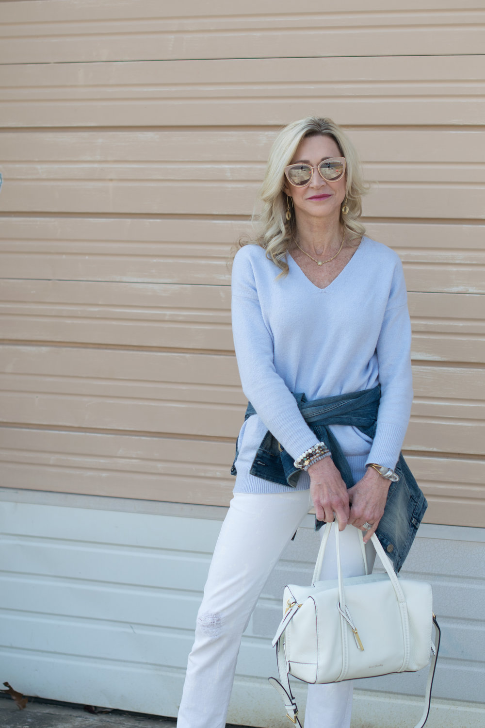 Casual spring outfit idea with Vera Bradley bags