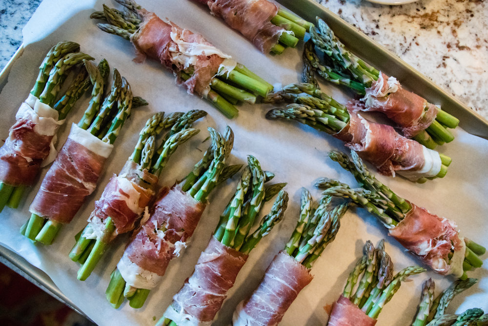 Asparagus Wrapped in Prosciutto ready to bake