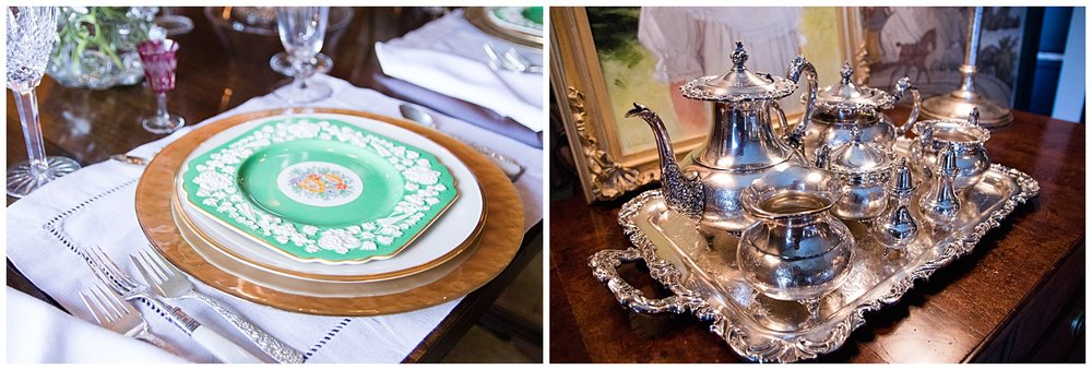 Spring place setting and silver coffee service in my dining room