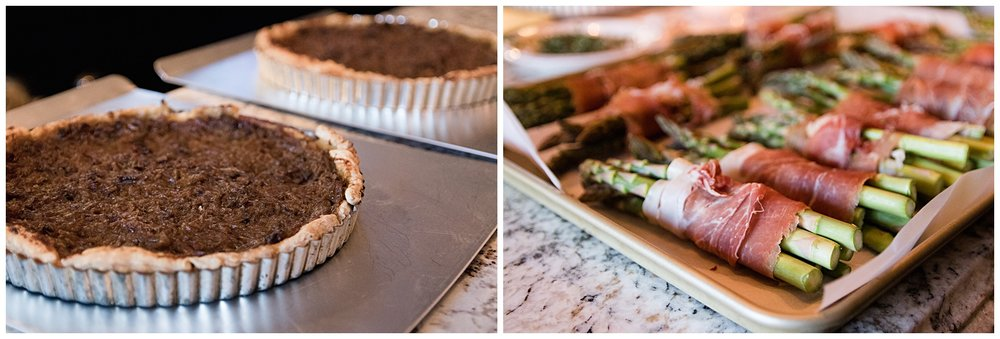 Onion Tart and Asparagus wrapped with prosciutto