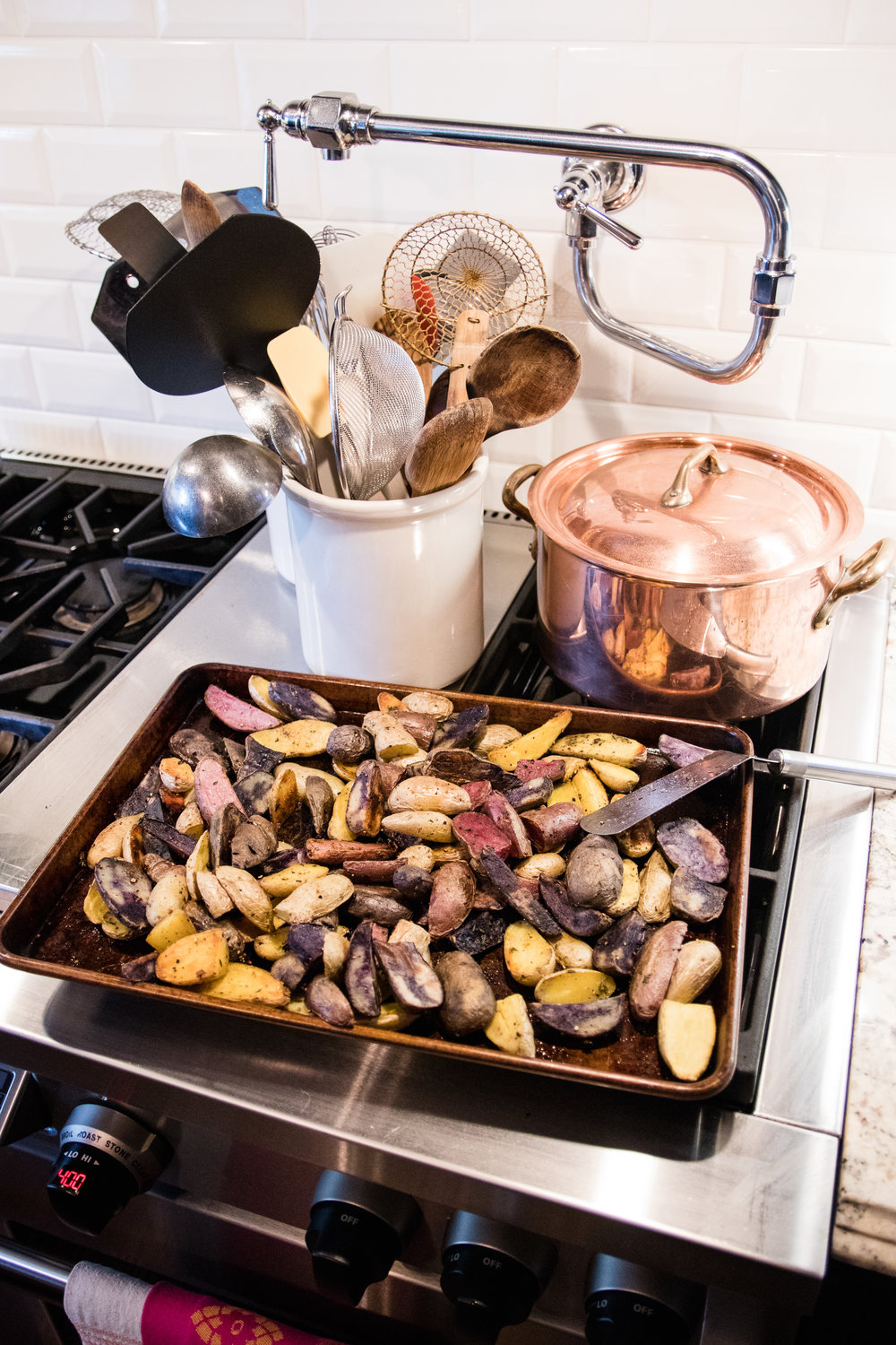 Roasted potatoes on the stove with my All-Clad copper pot