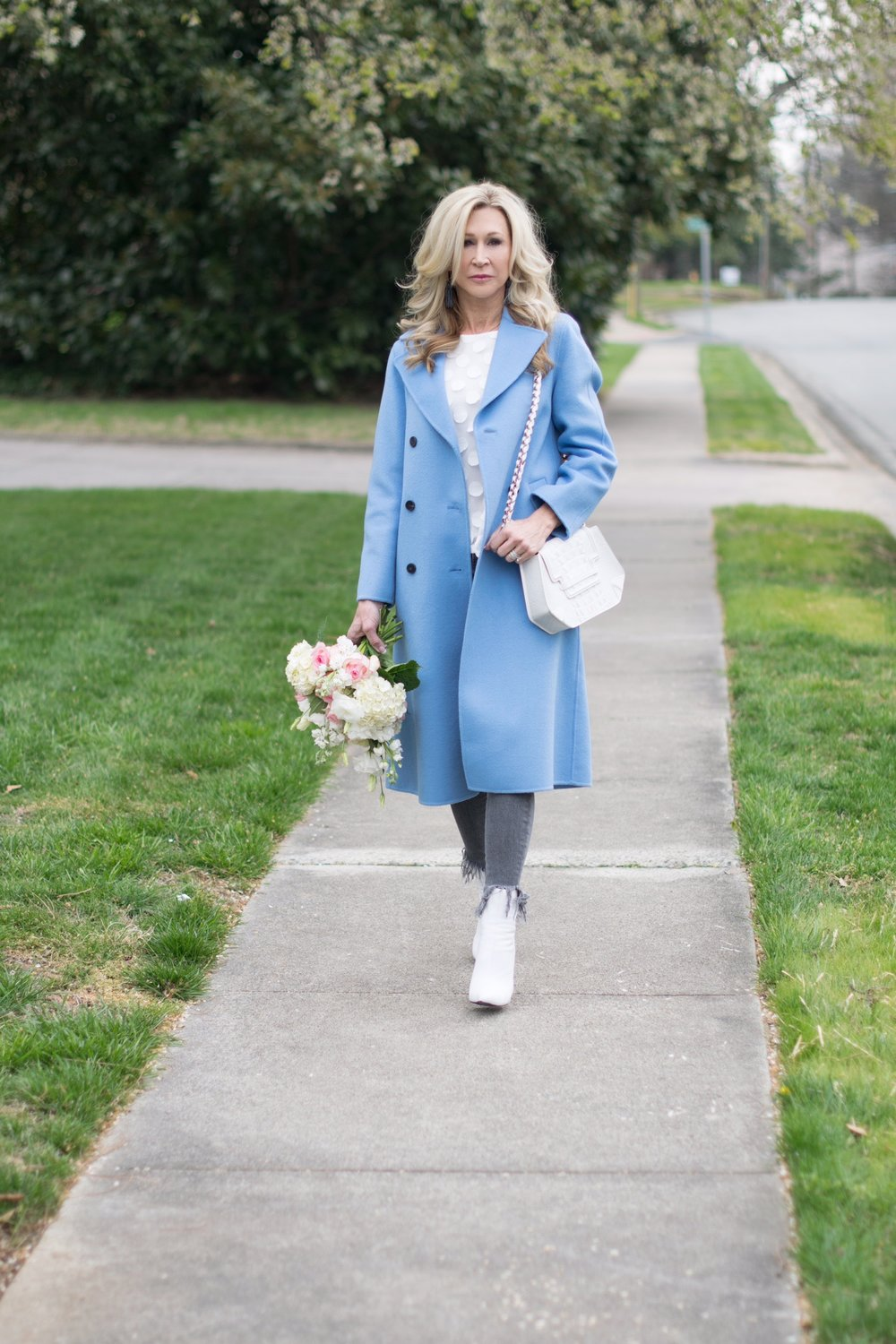 Zara Coat with Anthropologie top and grey jeans