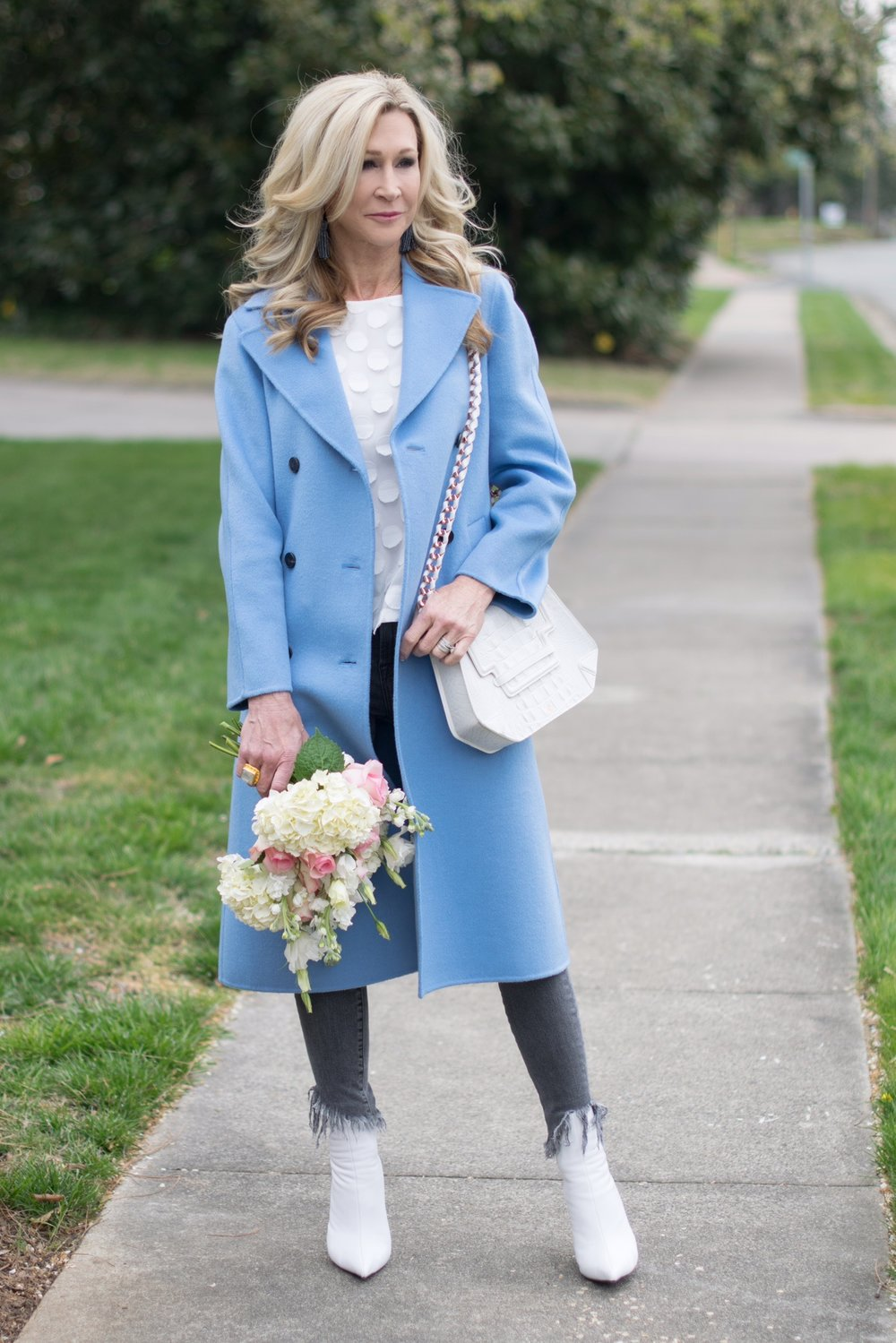 Zara blue coat with Anthropologie top, Jeffrey Campbell booties and grey jeans