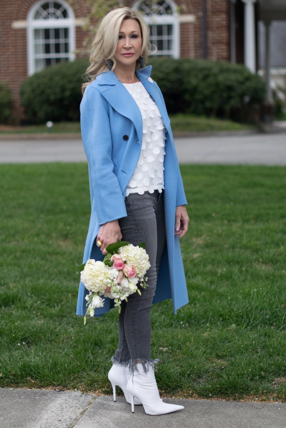 Zara blue spring coat, Anthropologie top, Jeffrey Campbell booties and grey jeans