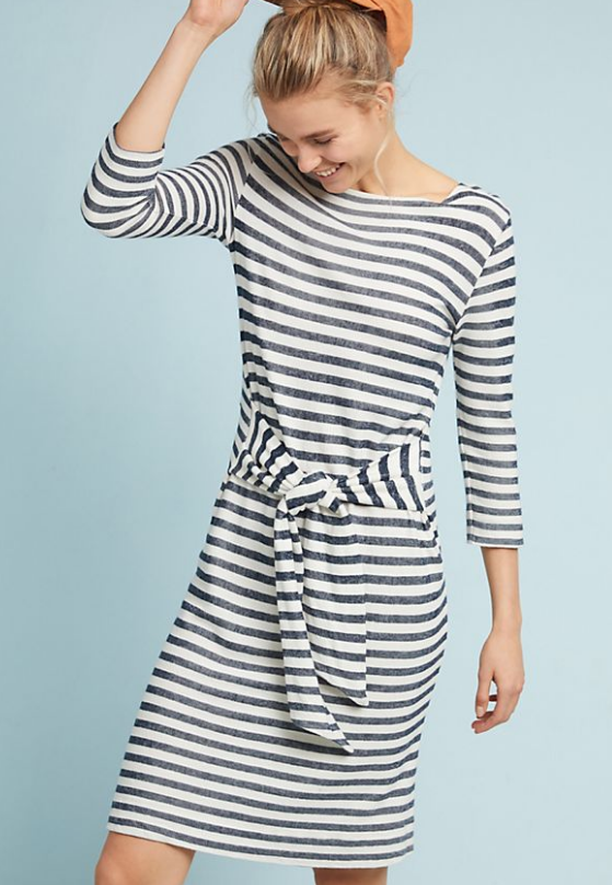Tie Waist Dress - This striped dress from Anthropologie is calling my name and the price is right! $98.00